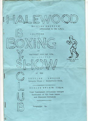 boxing programshalewood boxing show wensday 29th may 1974